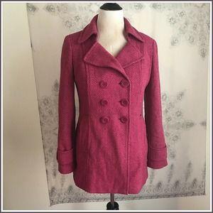 Ann Taylor Tweed Wool Peacoat sz M Jacket Blazer